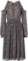 Michael Kors Leopard cold shoulder dress