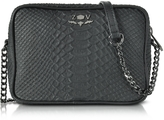 Zadig & Voltaire Black Embossed Leather Boxy Cobra Crossbody Bag