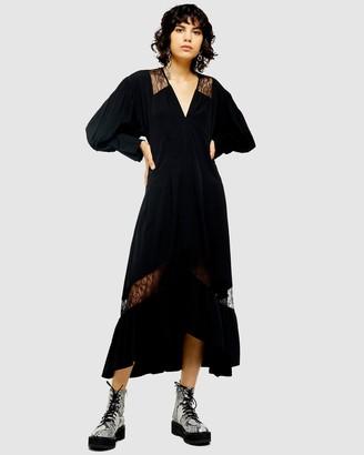 Topshop Lace Trim Smock Dress