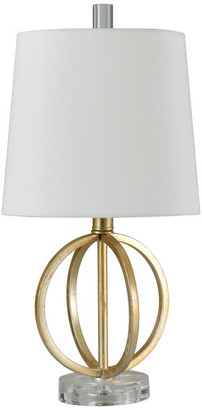 Stylecraft Home Collection Golden Flora Table Lamp, Antique Gold, Heavy White