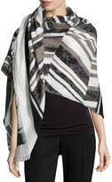 Neiman Marcus Striped Fringe-Trim Knit Wrap, Black/Multi