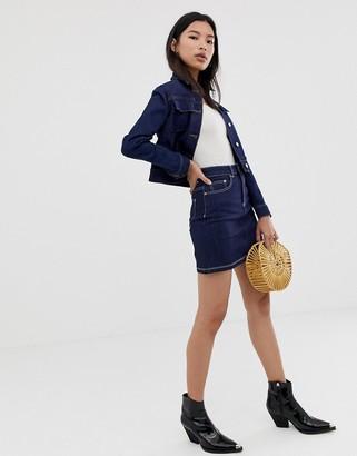 Northmore Denim organic cotton rinse wash denim mini skirt-Blue