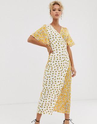 NEVER FULLY DRESSED splice wrap midi dress in contrast shell print