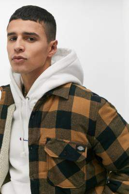 Dickies Lansdale Brown Checked Shirt Jacket - brown S at Urban Outfitters