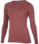Ibex Woolies 1 Crew - Long-Sleeve - Women's Winter Cherry/Camel Heather Stripe