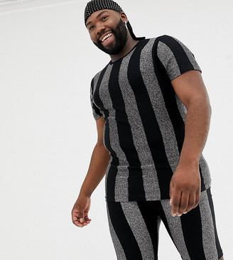 Asos Design DESIGN x LaQuan Smith Plus skinny fit glitter stripe t-shirt-Multi