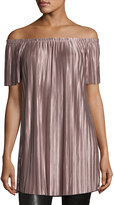 Glamorous Off-the-Shoulder Pleated Tunic, Lilac
