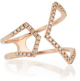 Ef Collection Split Chevron Diamond Rose Gold Ring