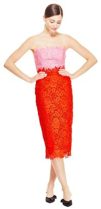Lela Rose Floral Guipure Lace Strapless Fitted Sheath