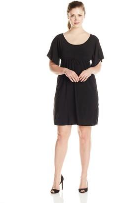 Star Vixen Women's Plus-Size Flutter Sleeve Empire Drawstring Dress