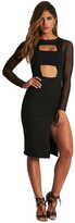 Donna Mizani Banded Cut Out Midi Slit Dress in Black