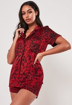 Missguided Red Leopard Satin Piping Detail Pyjama Top