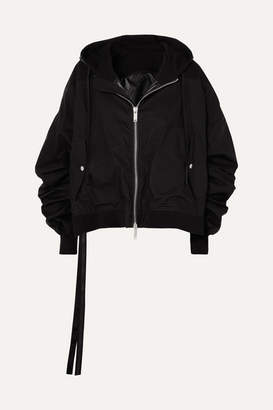 Unravel Project Hooded Cotton Bomber Jacket - Black