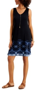 Style&Co. Style & Co Petite Print Sleeveless Swing Dress, Created for Macy's