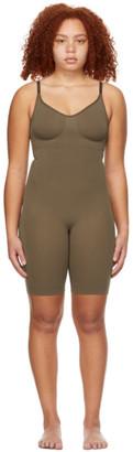 SKIMS Brown Seamless Sculpting Mid-Thigh Bodysuit