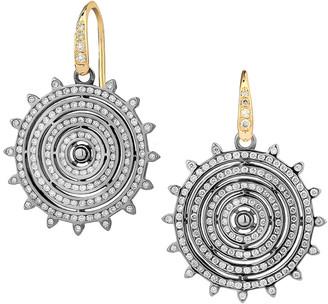 Syna Diamond Two-Tone Circular Drop Earrings