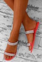 Pink Boutique Glitzerland Coral Diamante Jelly Sandals