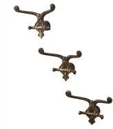Rejuvenation Set of 3 Brass-Plated Ornate Coat Hooks