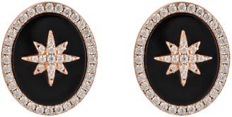 Latelita Starburst Oval Stud Earring Black Onyx Rosegold