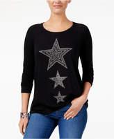 Style&Co. Style & Co Metallic Star Sweatshirt, Created for Macy's
