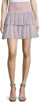 Rebecca Taylor Amanda Floral Silk Tiered Skirt, Peach