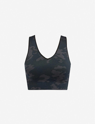 Spanx Active Look At Me Now camo-print cropped stretch-woven top