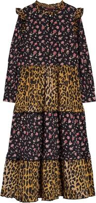 Scotch R'Belle Kids' Leopard & Flower Flounce Long Sleeve Dress