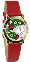Whimsical Watches Women's C1210004 Classic Gold Ladybugs Red Leather And Goldtone Watch