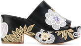 Laurence Dacade floral patches platform sandals - women - Cotton/Calf Leather/Leather - 41