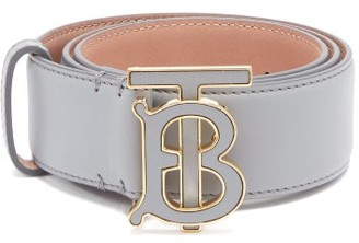 Burberry Tb-buckle Leather Belt - Womens - Grey