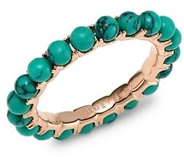 ginette_ny Maria 18K Rose Gold & Turquoise Beaded Ring