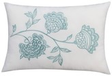 "Thomas Paul Seedling By ; Botanical Embroidered Floral Toss Pillow 14""X20"" - White&Blue"