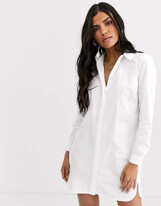 Asos Design DESIGN cotton mini shirt dress-White