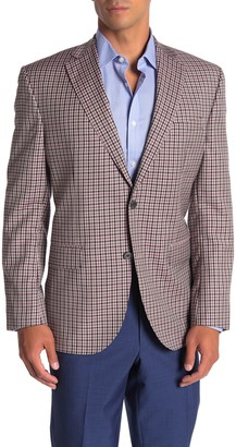 David Donahue Connor Burgundy Check Two Button Notch Lapel Wool Suit Separates Jacket
