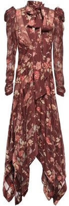 Zimmermann Floral-print Silk-blend Georgette And Twill Midi Dress