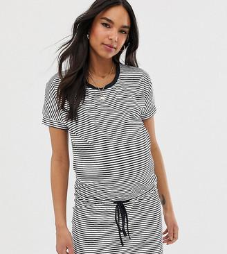 Mama Licious Mamalicious maternity stripe drawstring waist t-shirt mini dress in mono