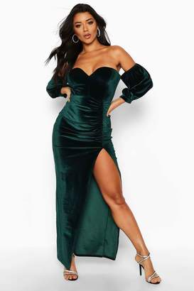 boohoo Velvet Off Shoulder Sweetheart Maxi Dress