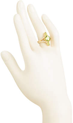 14k Gold Plated Sterling Silver Peridot Cz Split Shank Ring