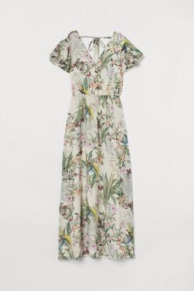 H&M Tie-detail Maxi Dress - White