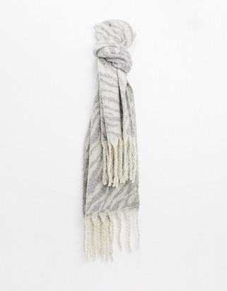 Aldo grey animal print scarf with tassel trim