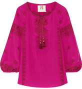 Figue Serena Embroidered Silk Crepe De Chine Blouse - Magenta