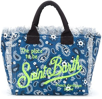 MC2 Saint Barth Paisley Logo Print Beach Bag