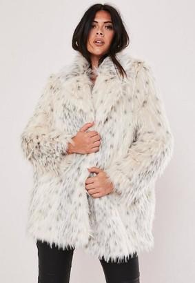 Missguided Size Premium Cream Faux Fur Jacket