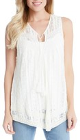 Karen Kane Women's Embroidered Lace Tie Neck Tank