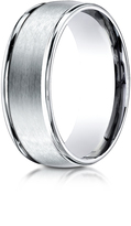 Ice Palladium 8mm Comfort-Fit Polished and Satin Carved Design Wedding Band