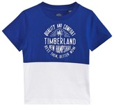 Timberland Blue Colour Block Branded Tee