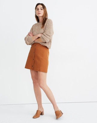 Madewell Button-Front A-Line Pocket Mini Skirt