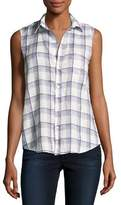 Frank And Eileen Fiona Sleeveless Button-Down Linen Shirt, White Pattern