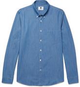 NN07 - Falk Slim-fit Button-down Collar Stretch-denim Shirt - Blue