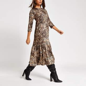 River Island Womens Beige leopard print midi smock dress